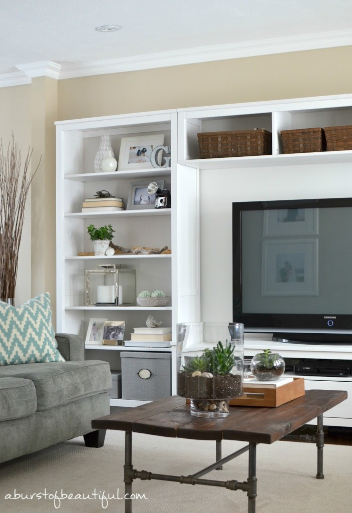 Living room spring update a burst of beautiful for Built in units for living room ireland