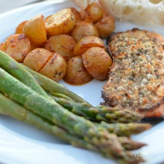 Maple Dijon Salmon, Lemon Paprika Potatoes & Asparagus