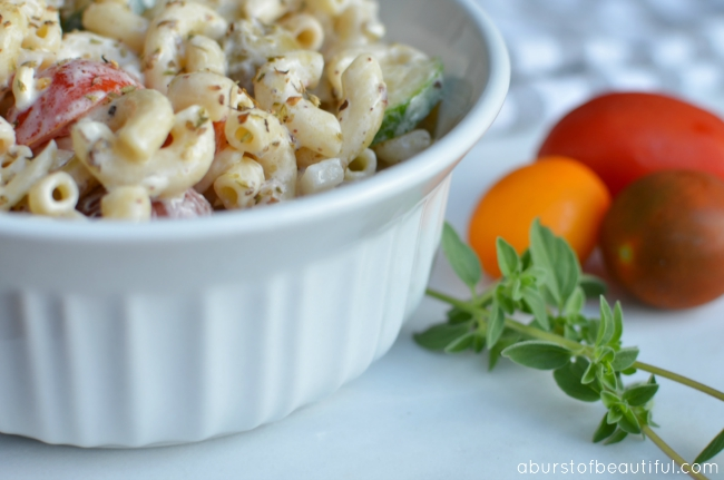 Enjoy this creamy pasta salad recipe, full of ripe vegetables and a flavorful, creamy dressing | A Burst of Beautiful