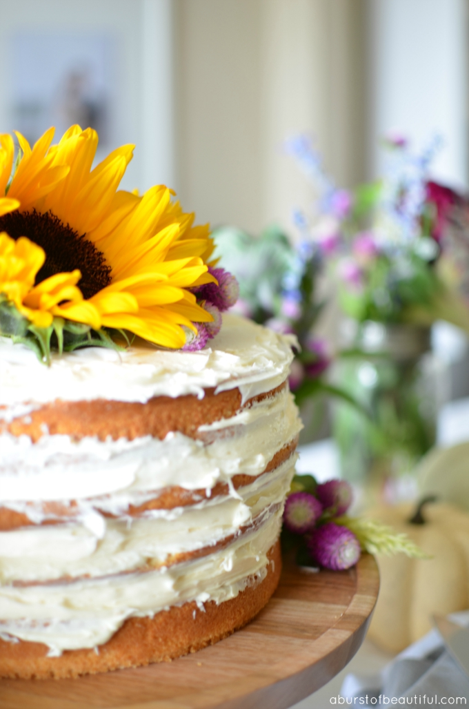 A Burst of Beautiful - DIY Fall Naked Cake Tutorial