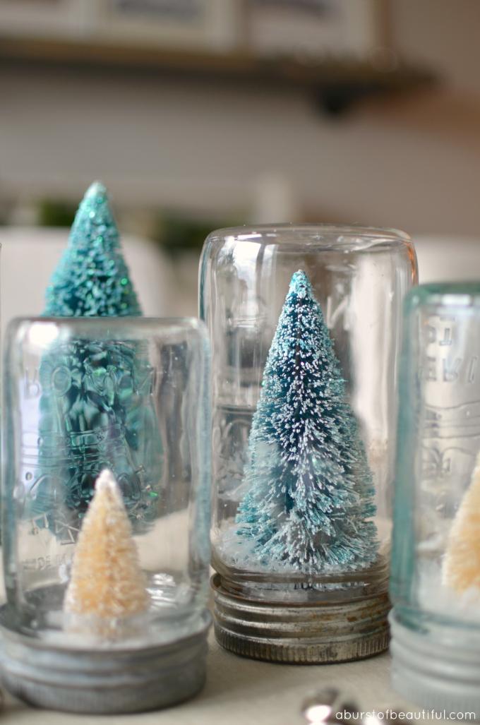 A Burst of Beautiful - Bottle Brush Christmas Tree Snow Globe