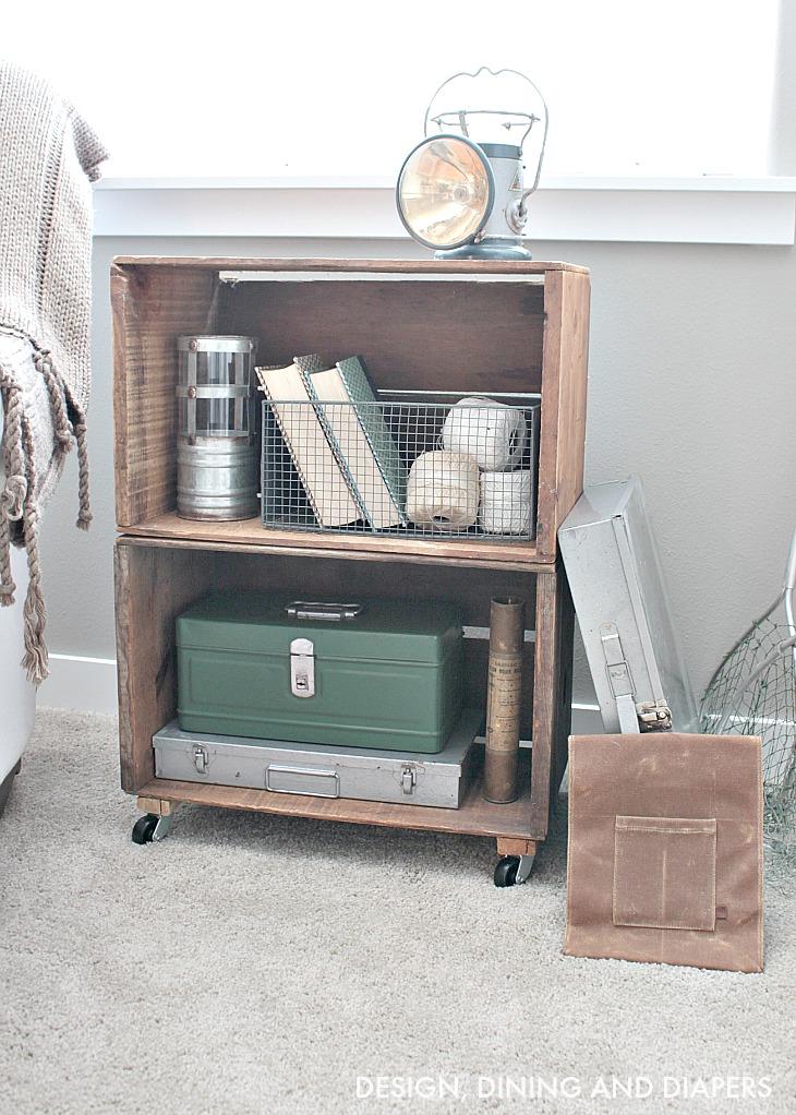 DIY Apple Crate Bookcase