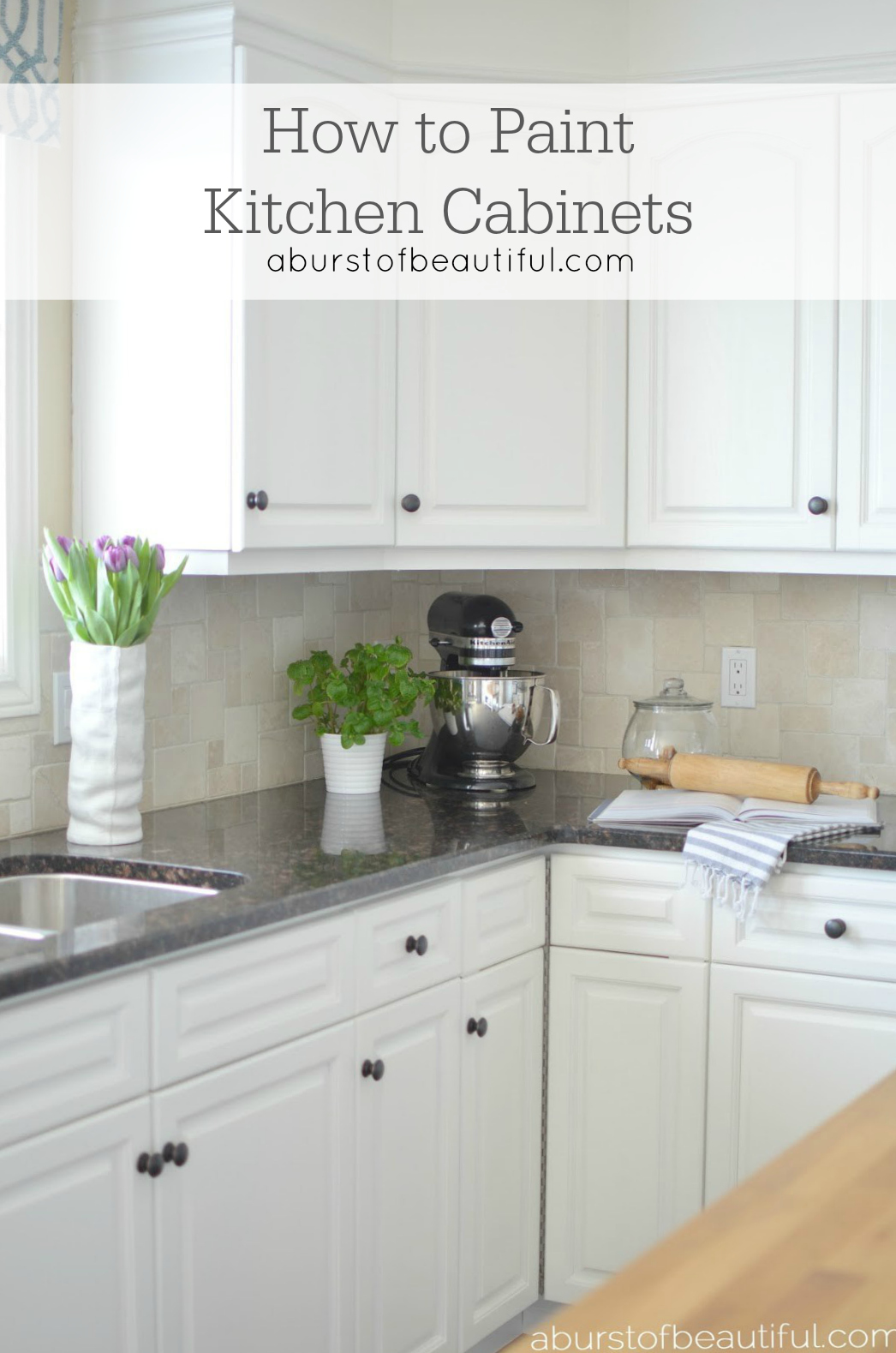 How to paint kitchen cabinets a burst of beautiful for Painting kitchen cabinets
