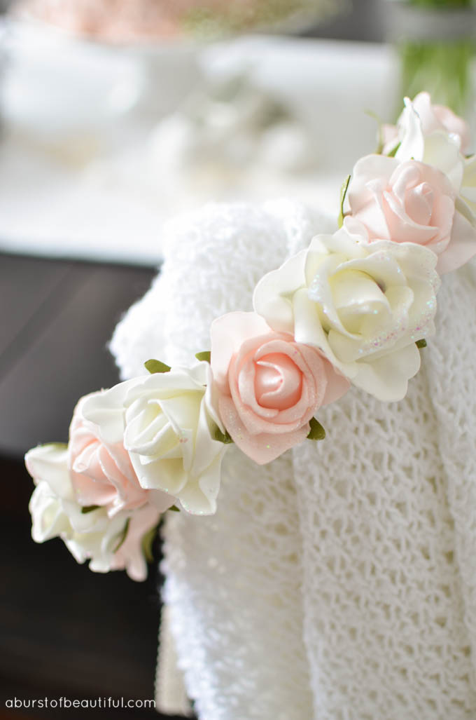 A sweet and simple DIY floral crown adds a whimsical touch to a pink and gold birthday party. Learn how to make your own DIY Floral Crown at A Burst of Beautiful | A Burst of Beautiful