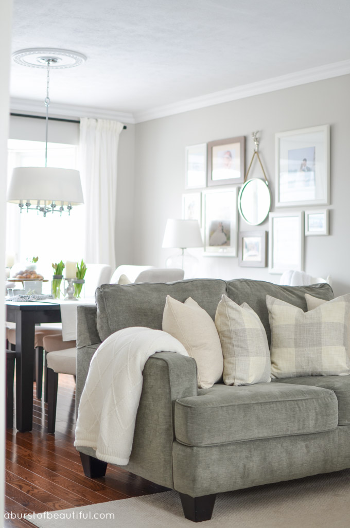Grey Couch Farmhouse Living Room
