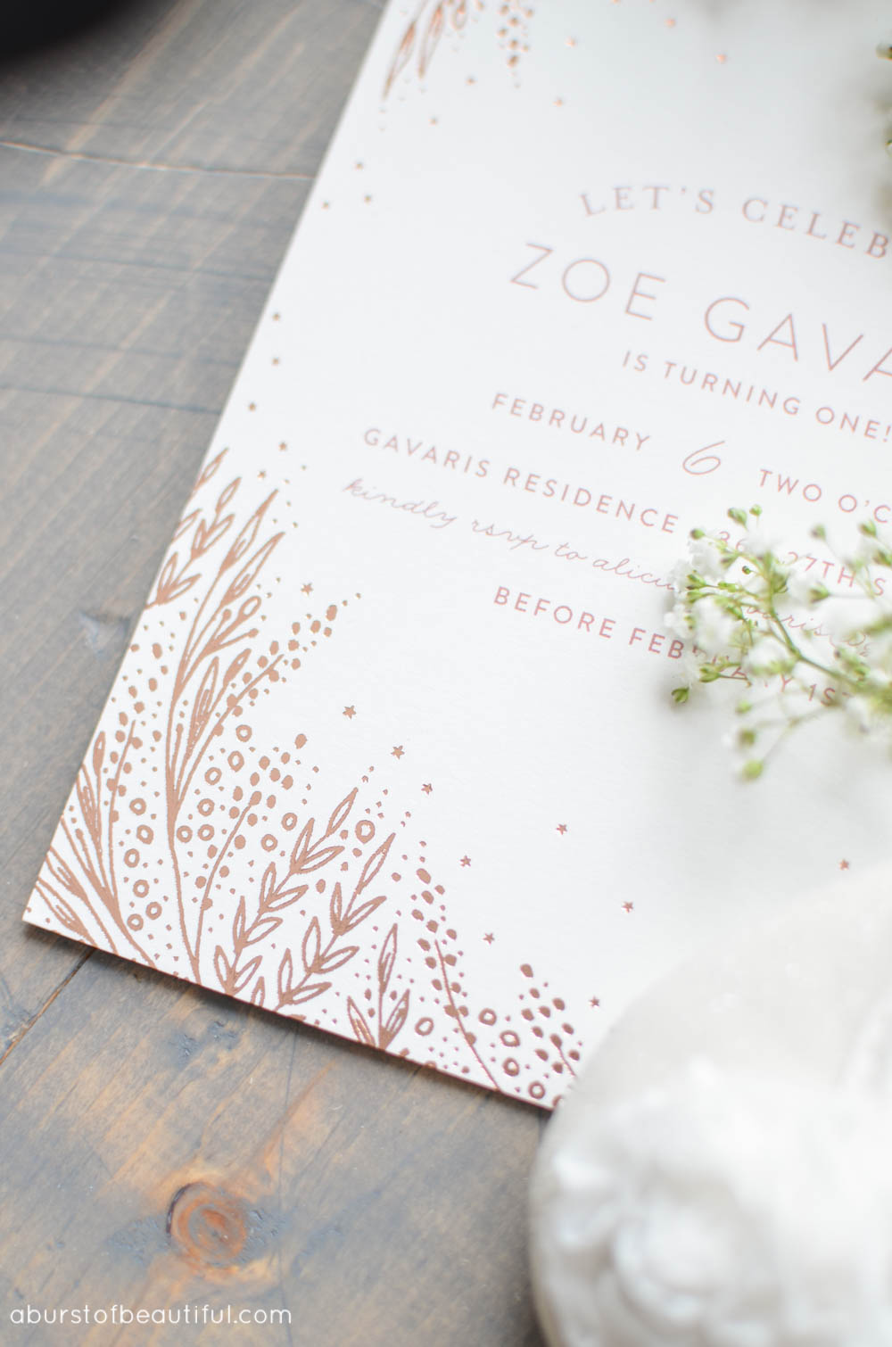 These beautiful hand-pressed foil invitations add a special touch to a vintage-inspired first birthday party   A Burst of Beautiful