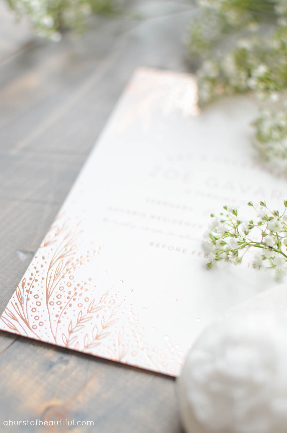 These beautiful hand-pressed foil invitations add a special touch to a vintage-inspired first birthday party | A Burst of Beautiful