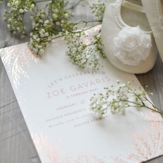 These beautiful hand-pressed foil invitations add a special touch a vintage-inspired first birthday party | A Burst of Beautiful