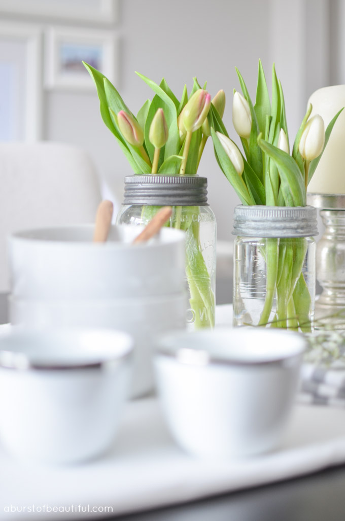 Vintage mason jars make simple and easy vases for fresh flowers | A Burst of Beautiful
