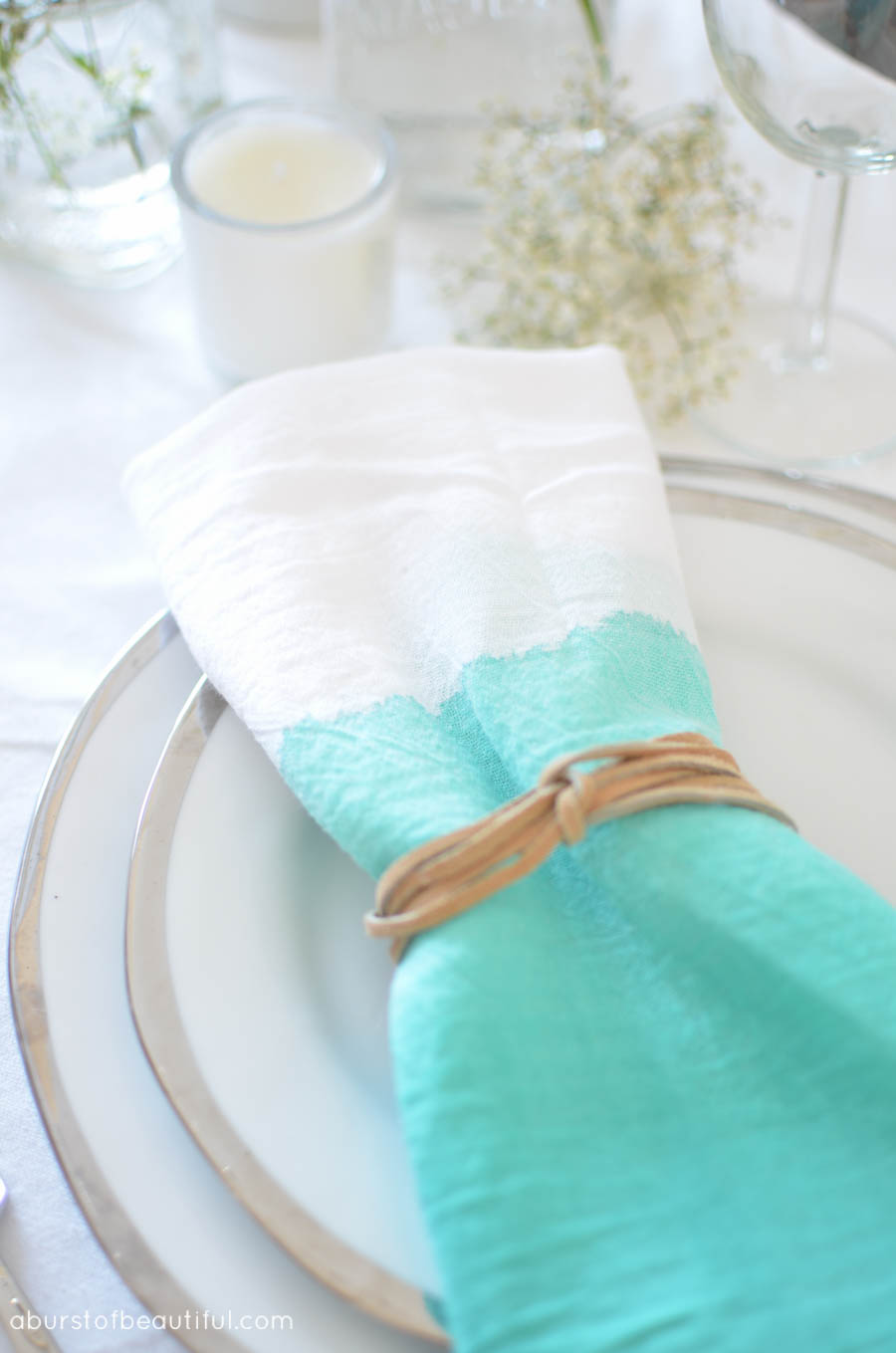 Create these simple, yet vibrant turquoise watercolor napkins with this easy tutorial | A Burst of Beautiful