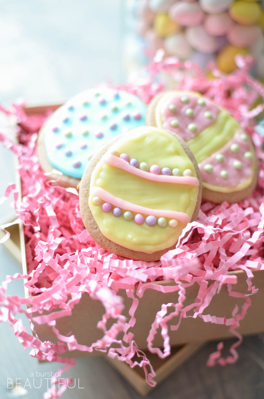 Celebrate Easter with these pretty easter egg sugar cookies. Our Peanut Butter Sugar Cookies are sweet and soft and so easy to make   A Burst of Beautiful