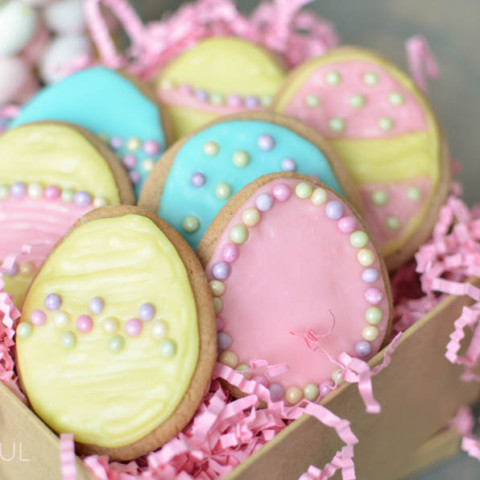 Celebrate Easter with these pretty easter egg sugar cookies. Our Peanut Butter Sugar Cookies are sweet and soft and so easy to make | A Burst of Beautiful