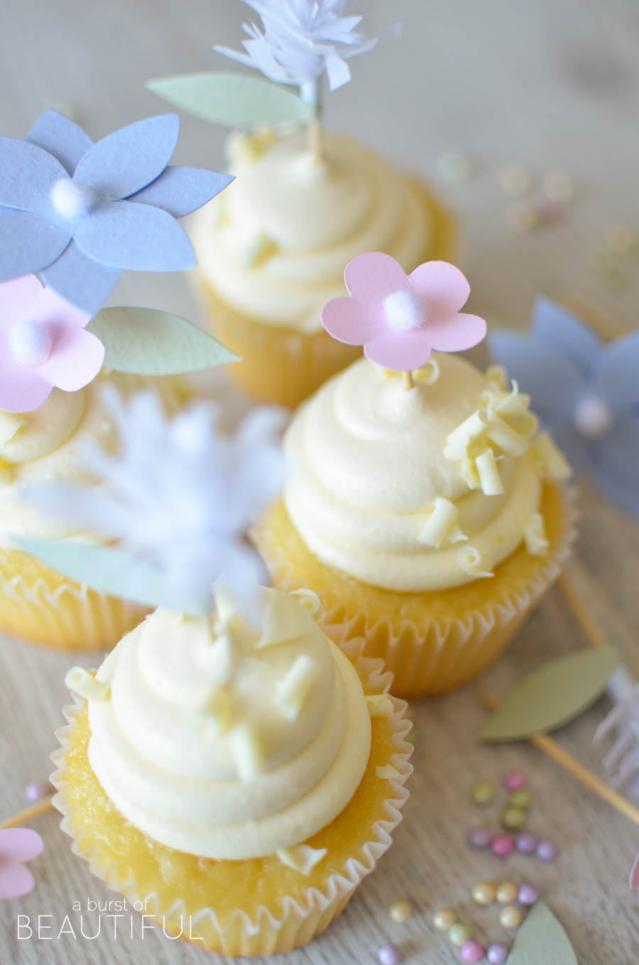 Add a whimsical touch to your next special event with these pretty DIY flower cupcake toppers | A Burst of Beautiful