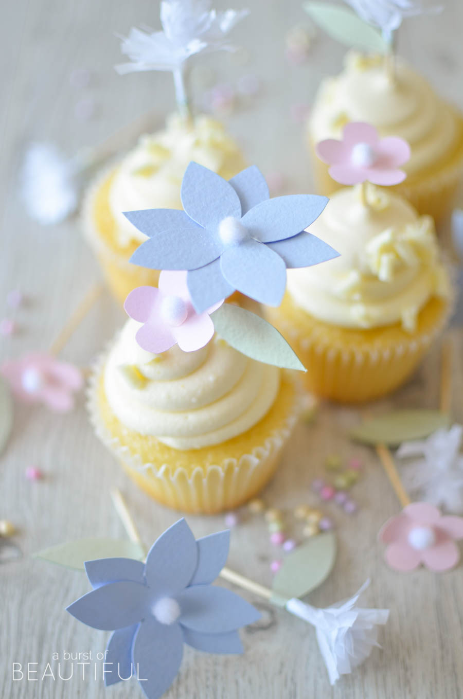 Add a whimsical touch to your next special even with these pretty DIY floral cupcake toppers | A Burst of Beautiful
