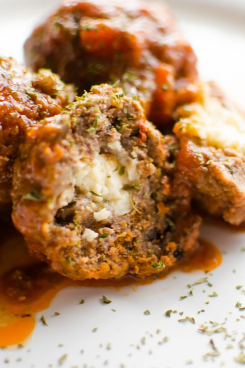 Slow Cooker Stuffed Mediterranean Meatballs
