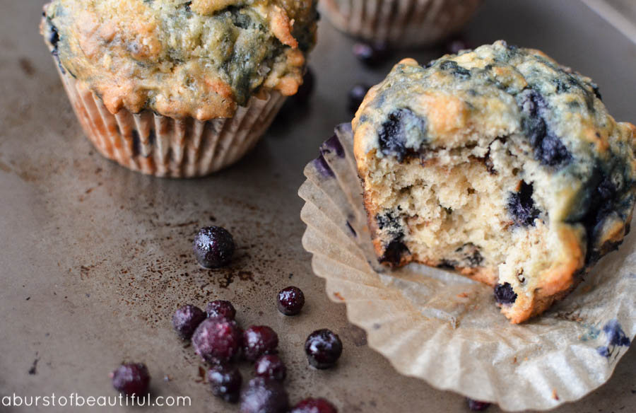 A simple and easy recipe for The Best Blueberry Muffins - fluffy, moist and every bite is bursting with juicy blueberries | A Burst of Beautiful