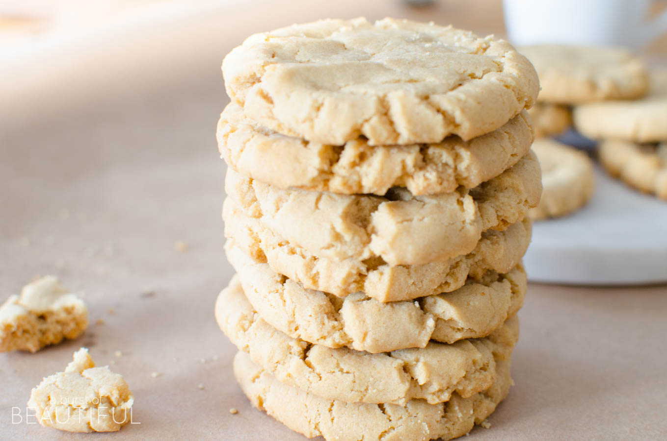 These classic peanut butter cookies are the perfection combination of crispy on the outside and soft and chewy on the inside | A Burst of Beautiful
