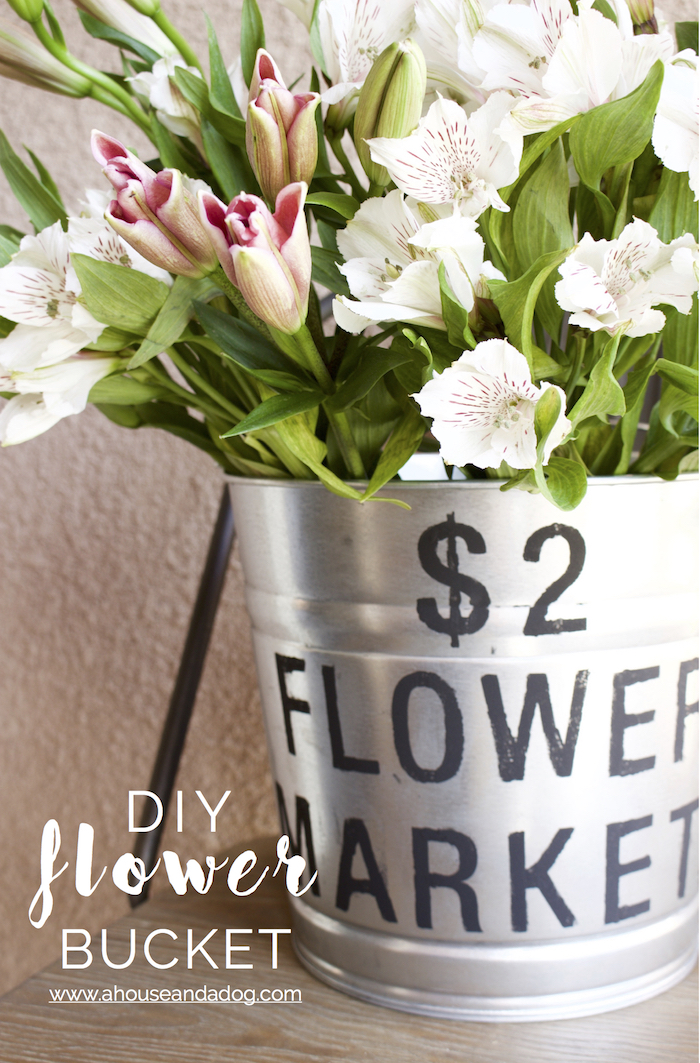 DIY Flower Bucket | A House and A Dog