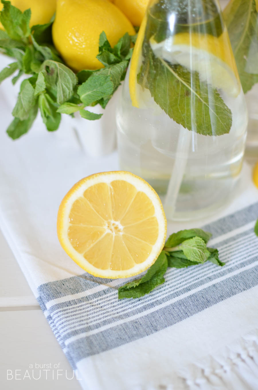 Mint and lemon infused homemade all purpose cleaner is an easy and inexpensive way to clean your home naturally | A Burst of Beautiful