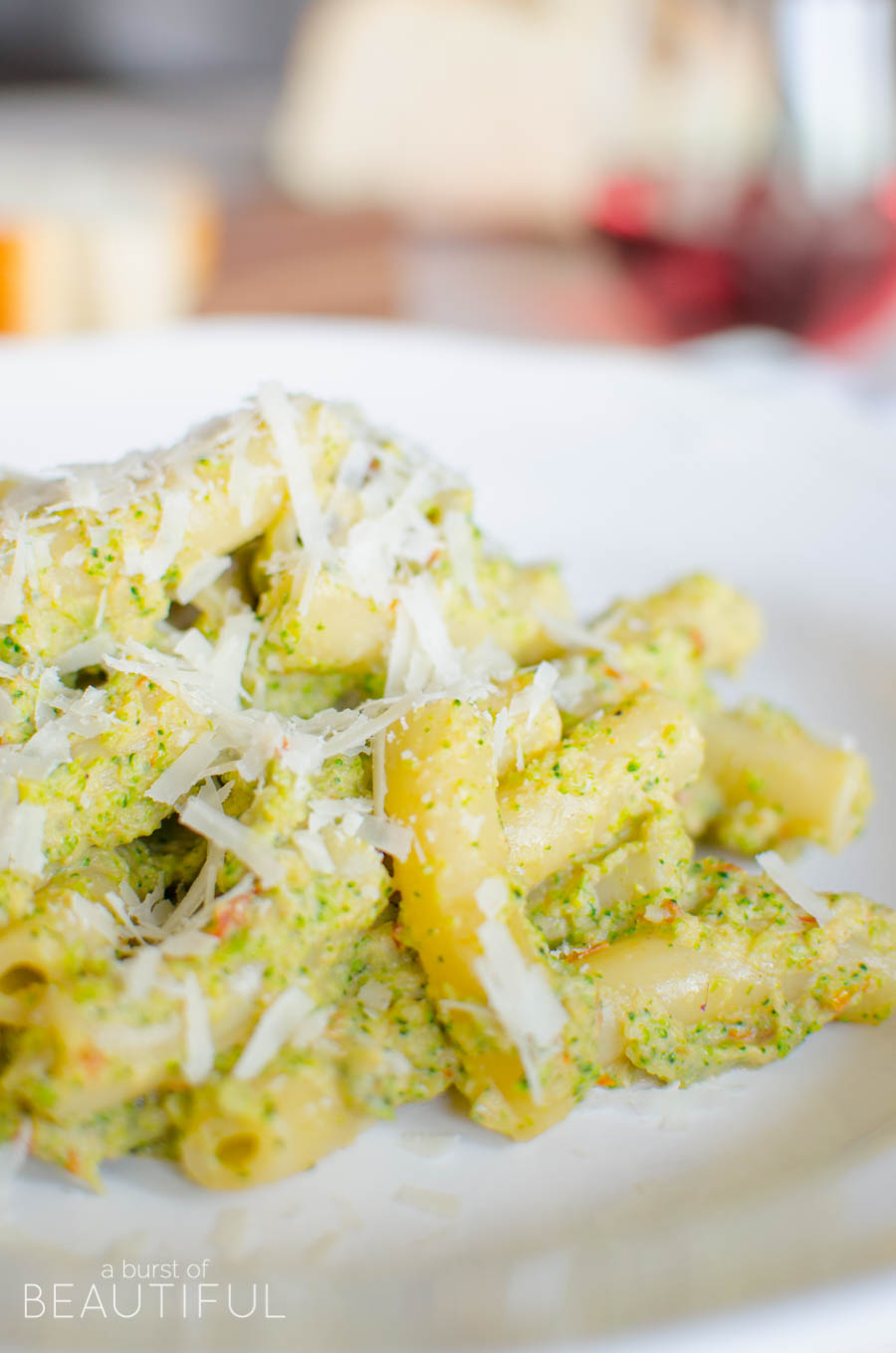 Creamy Broccoli Rigatoni is an easy and healthy family-friendly dinner for busy weeknights. Get the recipe at aburstofbeautiful.com |A Burst of Beautiful