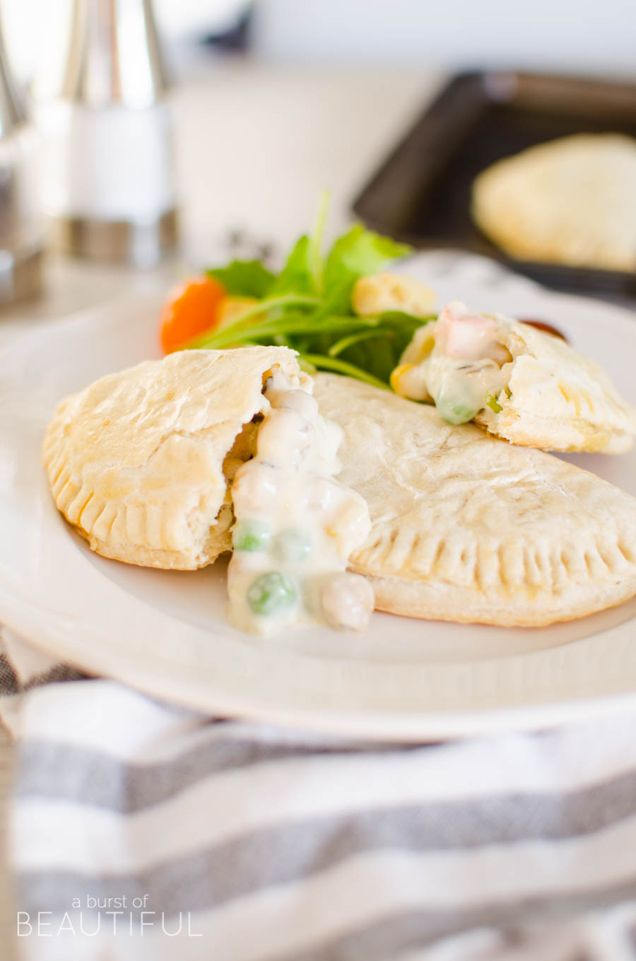 Vegetarian pot pies are a simple and healthy weeknight meal, the addition of chickpeas is a satisfying alternative to chicken   A Burst of Beautiful