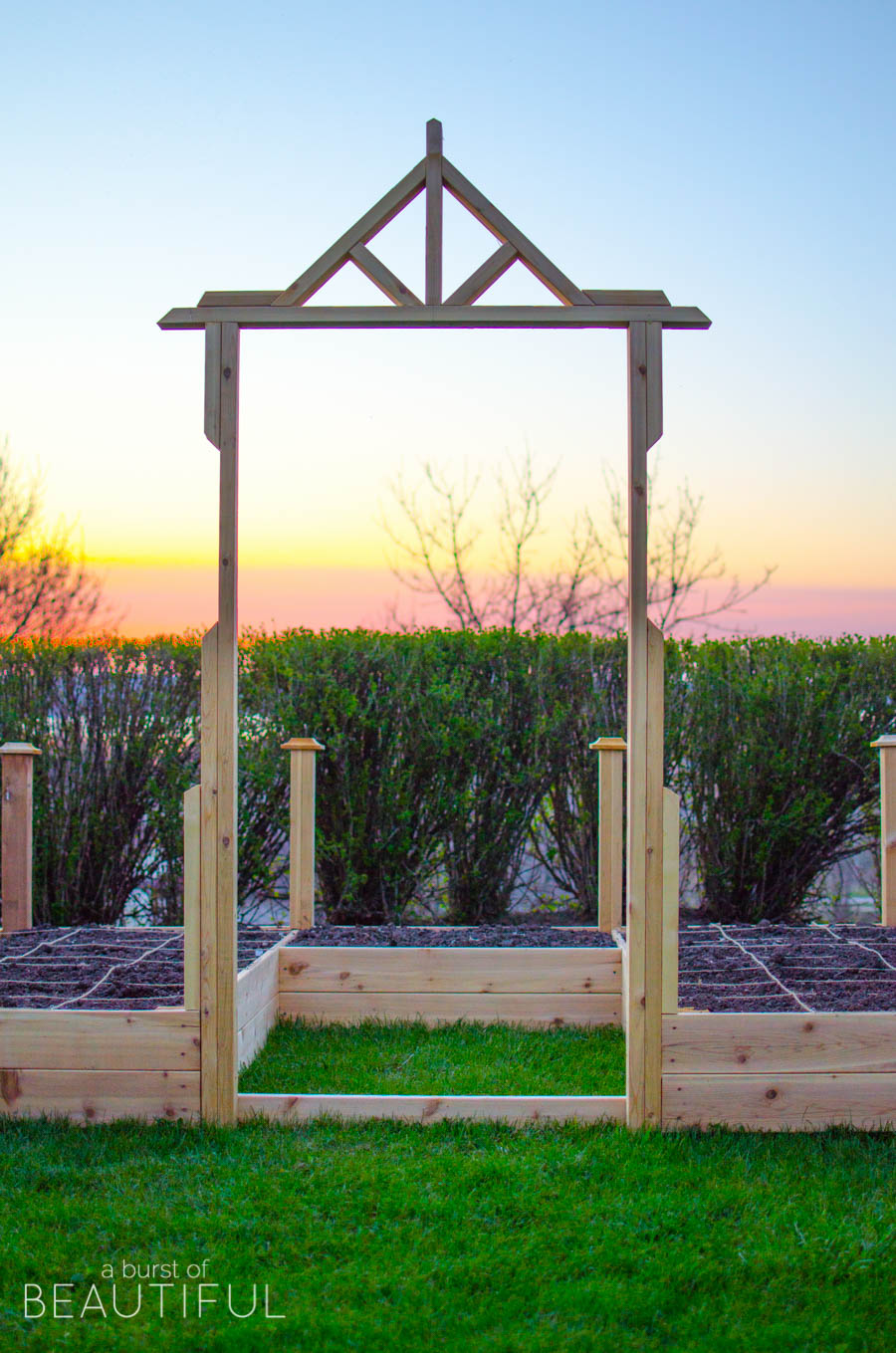 Build your own raised square-foot garden with these simple plans from A Burst of Beautiful