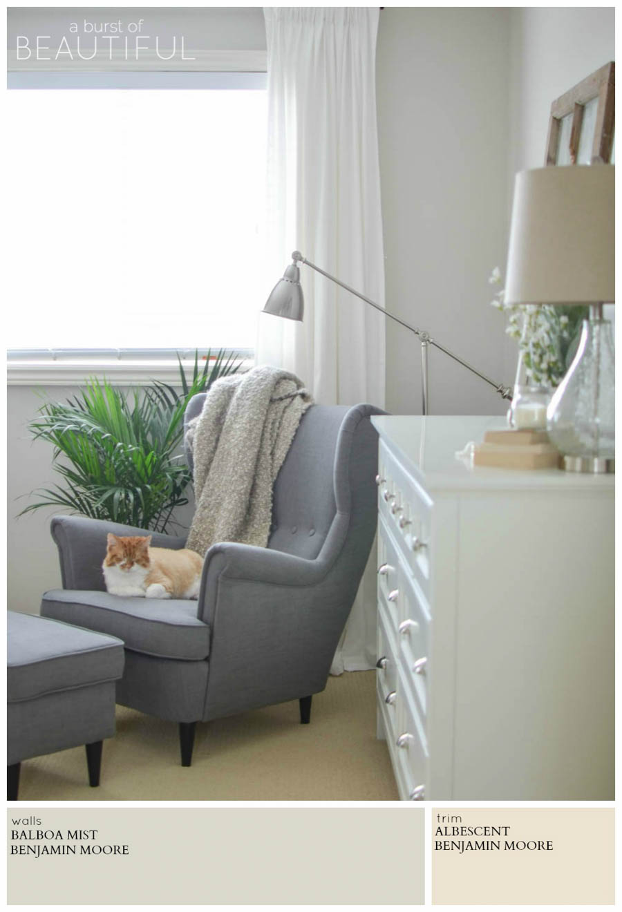 A romantic farmhouse retreat is painted a soothing neutral grey (Balboa Mist by Benjamin Moore), for a soft and feminine look. A Burst of Beautiful shares the perfect Modern Farmhouse Neutral Paint Colors for a cozy and inviting home   A Burst of Beautiful