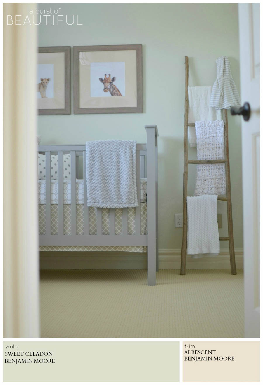 A gender neutral nursery is painted the slightest shade of jade for a soothing and calm space for baby. A Burst of Beautiful shares the perfect Modern Farmhouse Neutral Paint Colors for a cozy and inviting home | A Burst of Beautiful