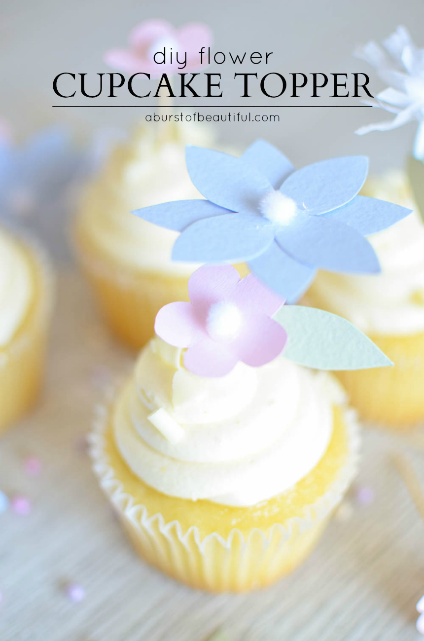 Add a whimsical touch to your next special event with these pretty DIY floral cupcake toppers   A Burst of Beautiful