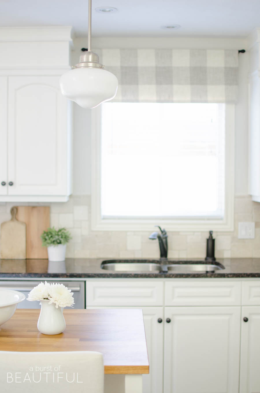 Great A Window Valance Made From Neutral Buffalo Check Fabric Compliments This  Simple Farmhouse Kitchen Perfectly.