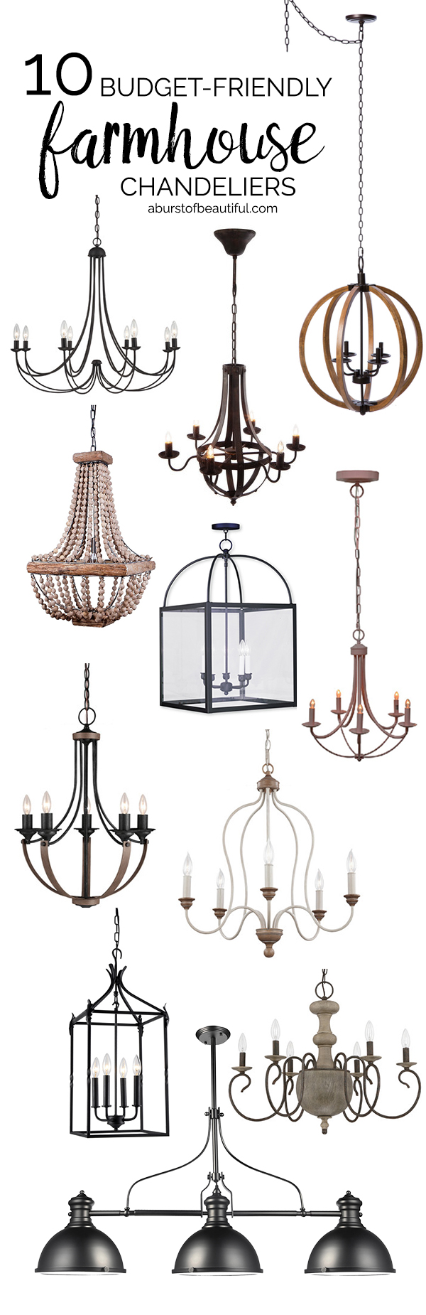 Budget-friendly farmhouse chandeliers add character and charm to any space
