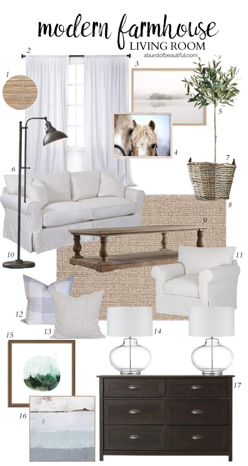 Design a neutral and casual modern farmhouse living room using these key design elements