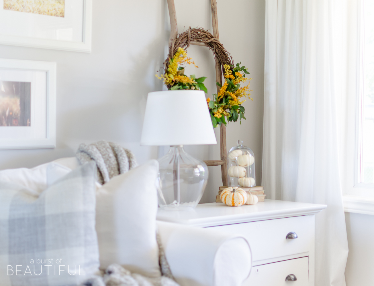 A simple DIY natural fall wreath adds a pop of color to seasonal decor.