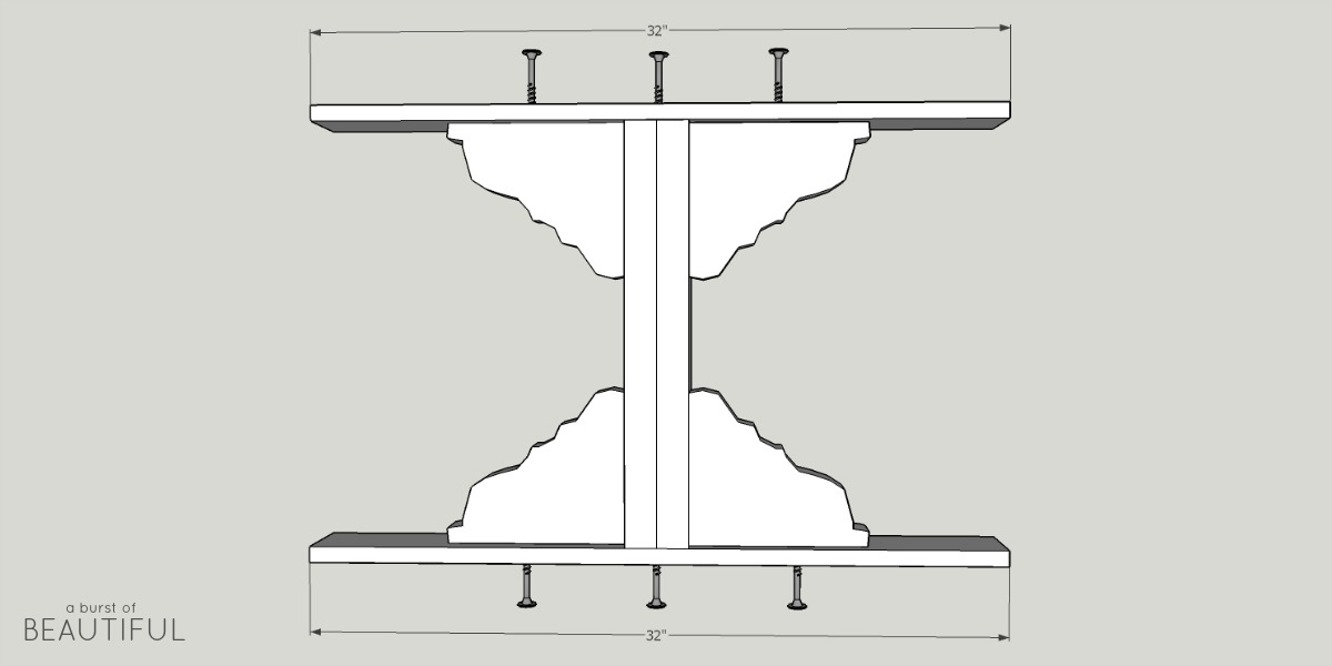 Build a beautiful farmhouse dining room table with these simple plans from www.aburstofbeautiful.com