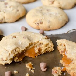 Sea salt and caramel add a twist to these classic chocolate chip cookies