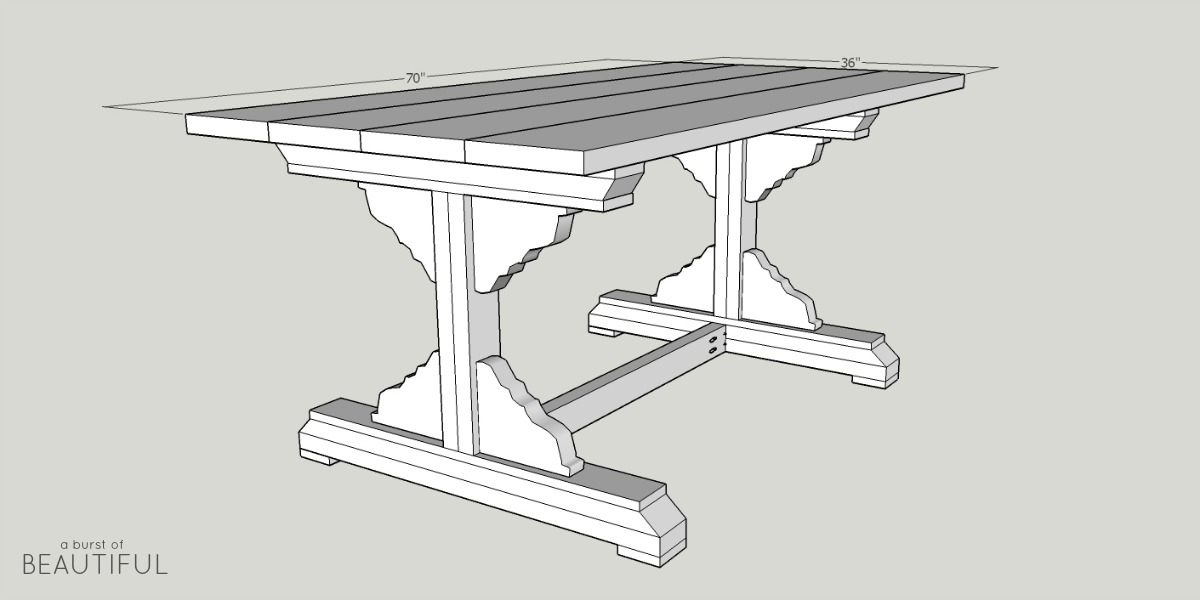 Build a beautiful DIY farmhouse dining room table with these simple plans from www.aburstofbeautiful.com
