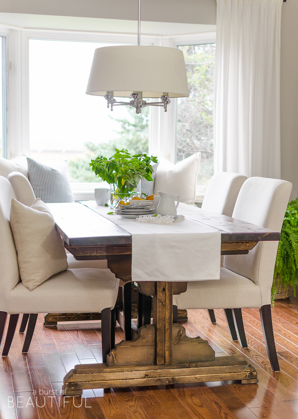 Build A Beautiful DIY Farmhouse Dining Room Table With These Simple Plans  From Www.aburstofbeautiful