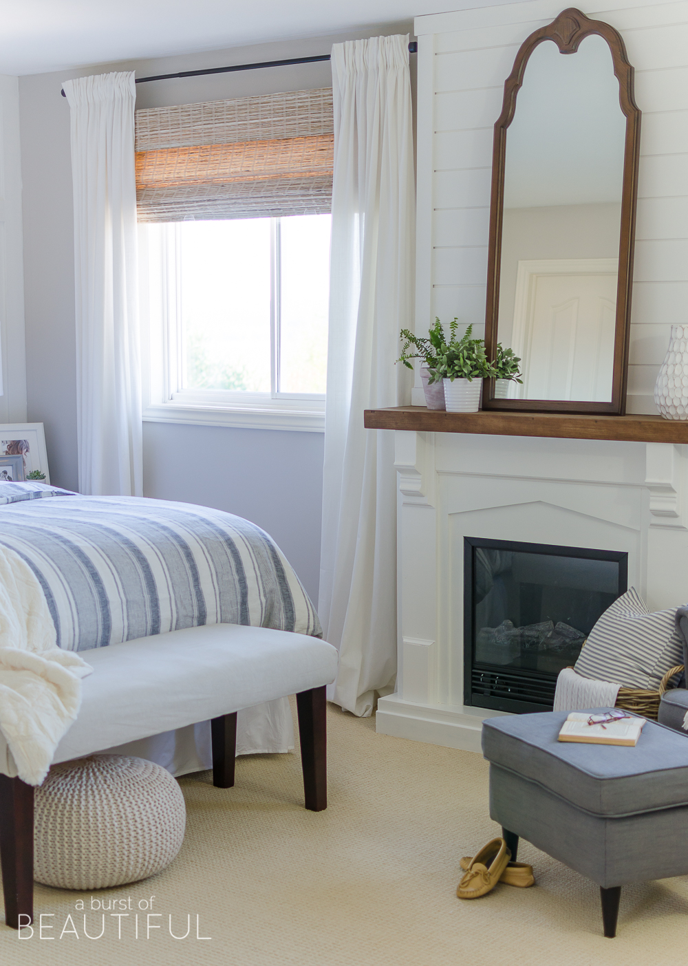 This Cozy Farmhouse Master Bedroom Features A Beautiful DIY Shiplap  Fireplace, Indigo Ticking Strip Bedding