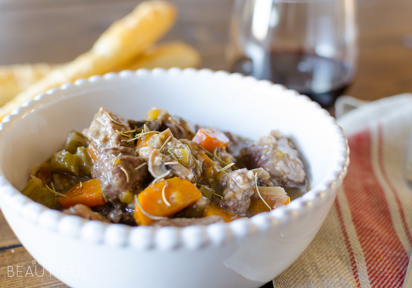 Homemade Beef and Mushroom Stew is a delicious and hearty meal to serve during the holidays