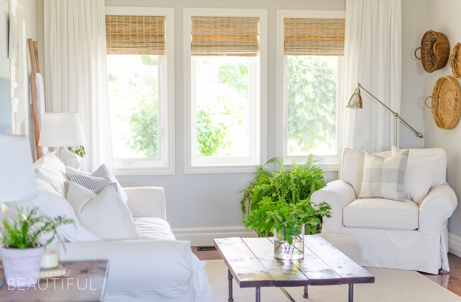 Living Room Modern Farmhouse Window Treatments