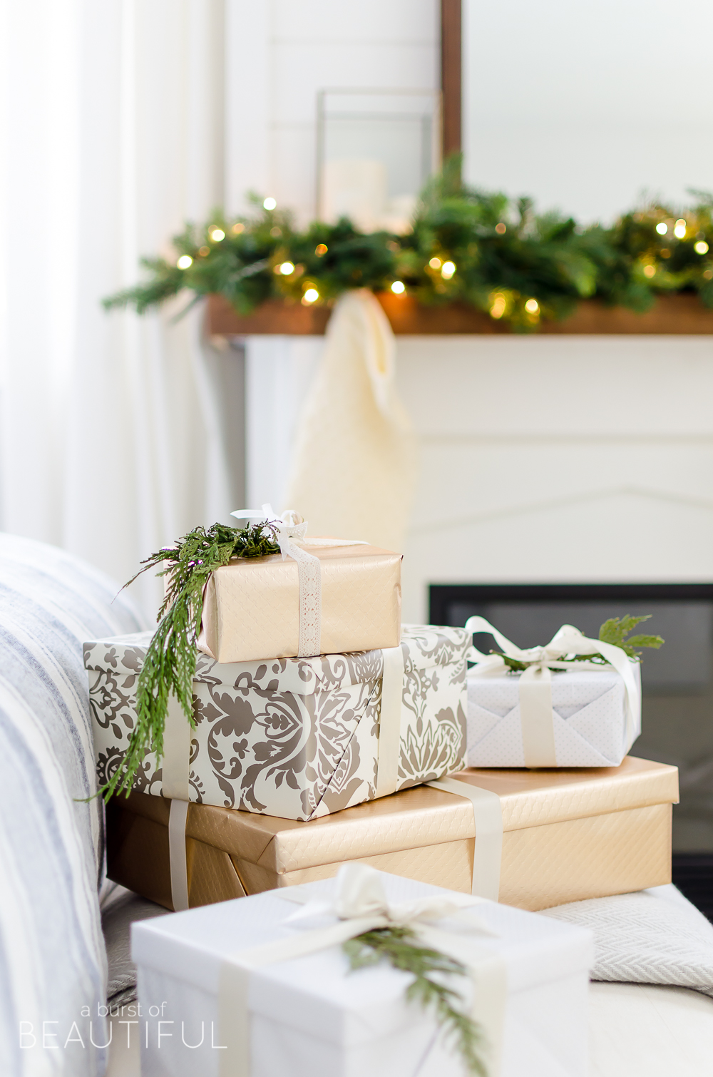 A cozy neutral Christmas bedroom full of farmhouse charm