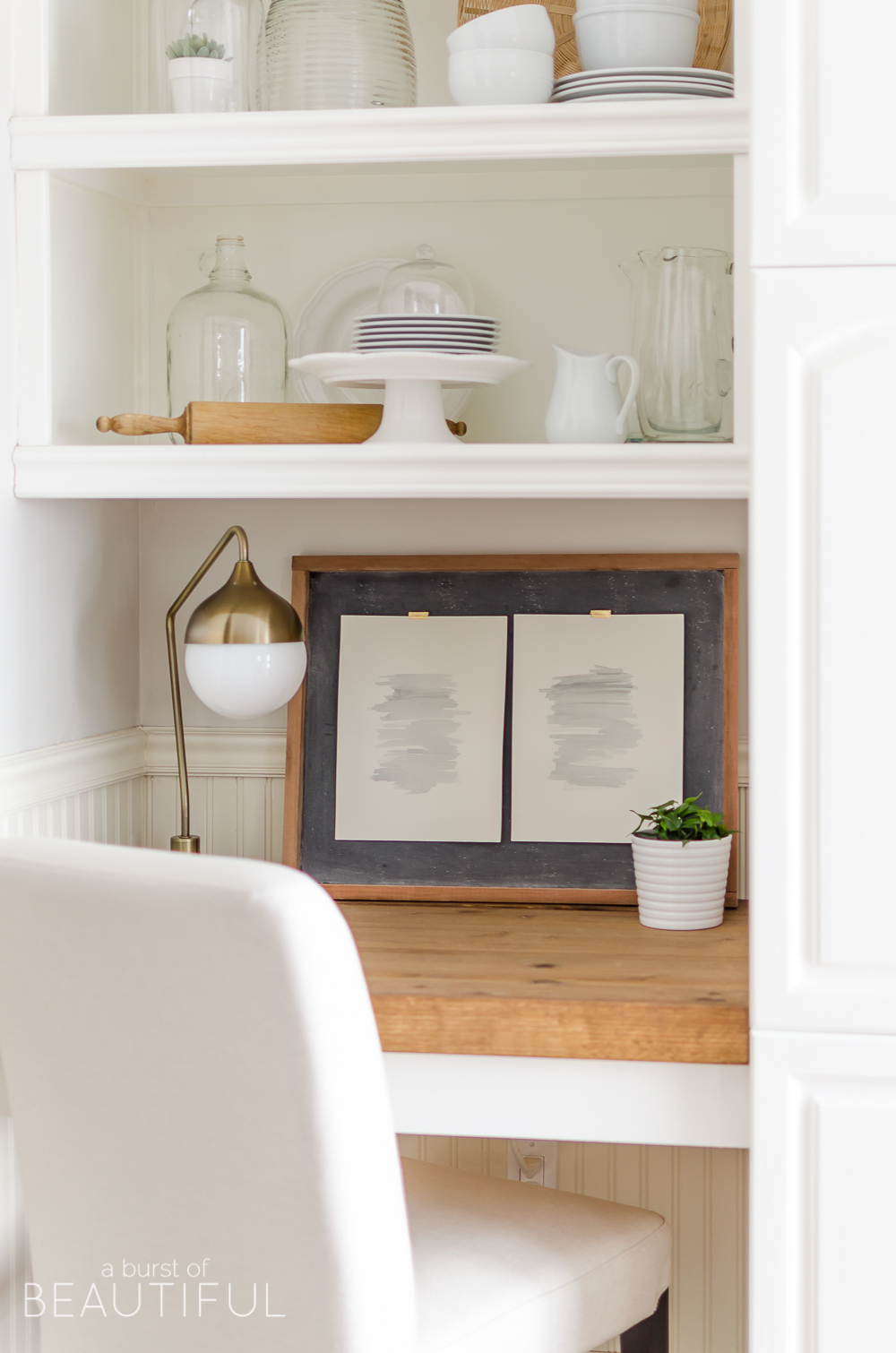 A Diy Floating Desk With Storage Adds Beautiful Touch To This Modern Farmhouse Kitchen