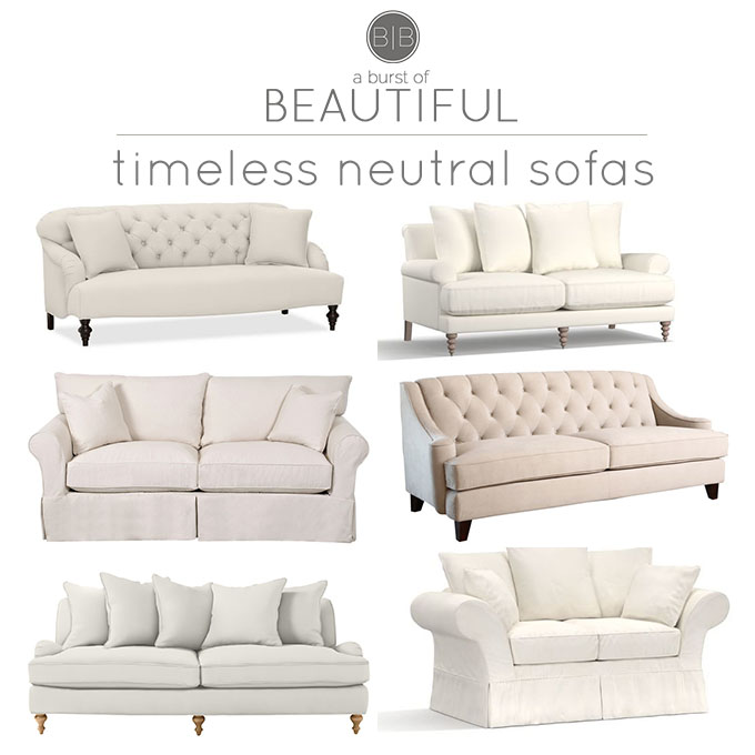 Timeless neutral sofas a burst of beautiful for Sofa timeless
