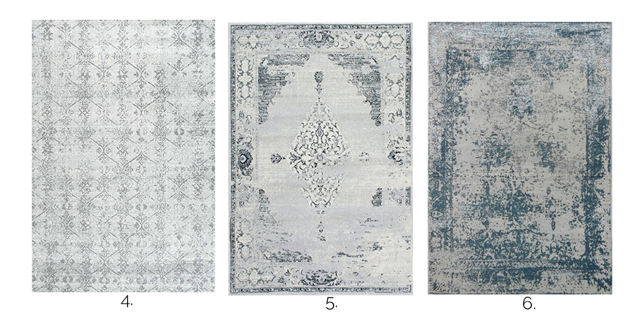 Neutral vintage area rugs are an easy way to add color, texture and pattern to any space in your home.