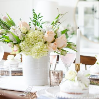 Simple Pink and Gold Spring Tablescape