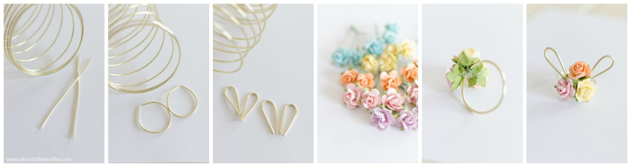 Easter Egg Decorating Idea   Decorate your Easter eggs this holiday with these miniature DIY gold wire bunny ears and floral crowns for a sweet and whimsical touch.