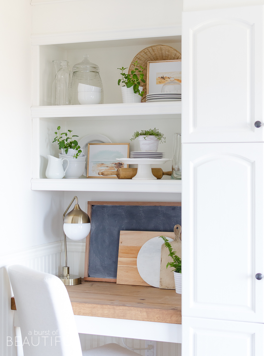Learn how to style open shelving in the kitchen and create this effortless modern farmhouse look
