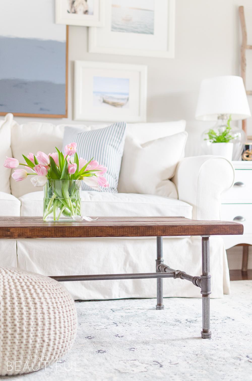 New navy blue vintage wash rug in our living room nick - Navy rug living room ...