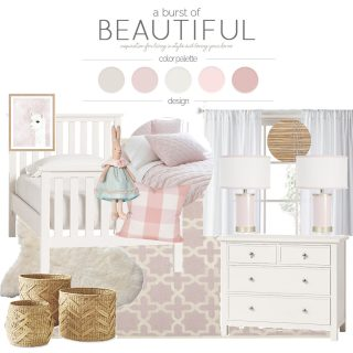 A sweet and whimsical toddler bedroom featuring a soft color palette consisting of blush, cream and gray tones | Design Plan