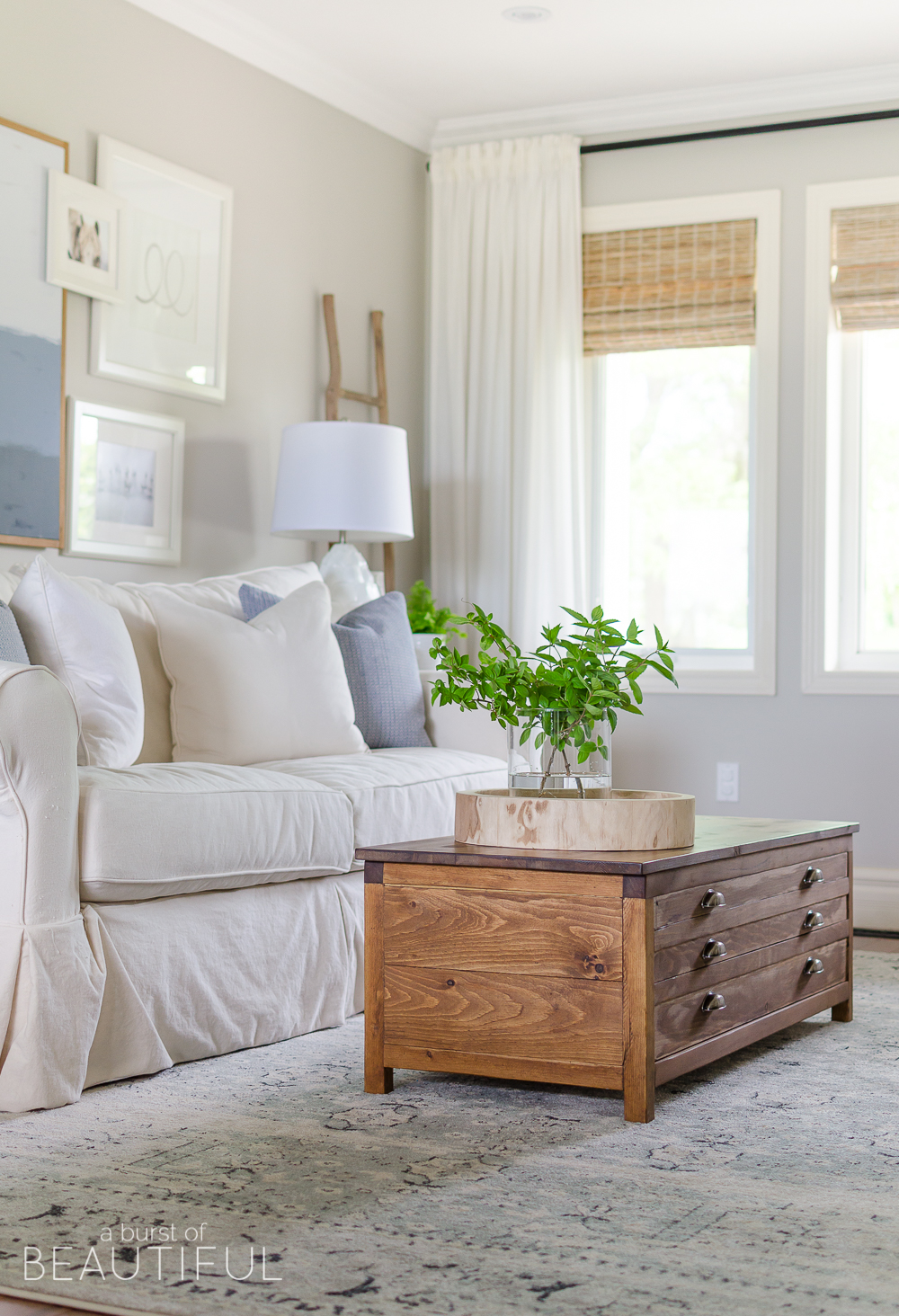 Build this beautiful Restoration Hardware inspired printmaker's coffee table for a fraction of the cost. Download the free plans here.